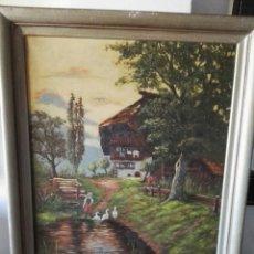 Kunst - Cuadro pintura antigua oleo sobre lienzo firma ilegible alemania - 103773556