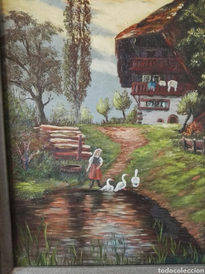 Arte: Cuadro pintura antigua oleo sobre lienzo firma ilegible alemania - Foto 2 - 103773556