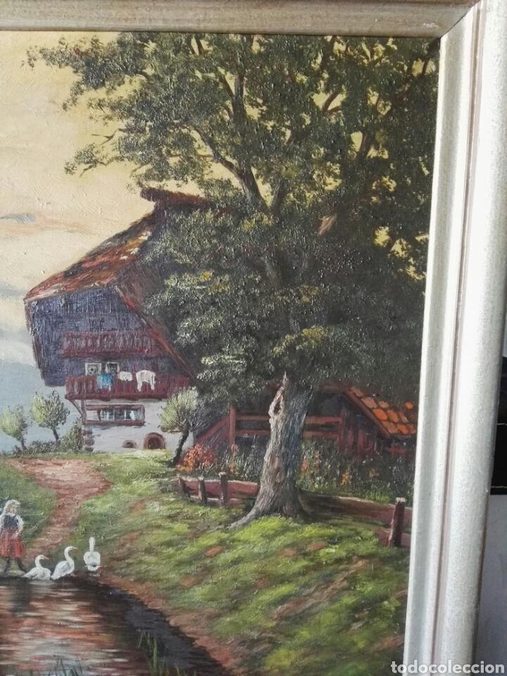 Arte: Cuadro pintura antigua oleo sobre lienzo firma ilegible alemania - Foto 3 - 103773556