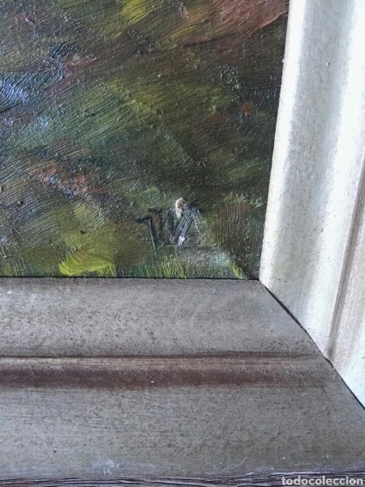 Arte: Cuadro pintura antigua oleo sobre lienzo firma ilegible alemania - Foto 5 - 103773556