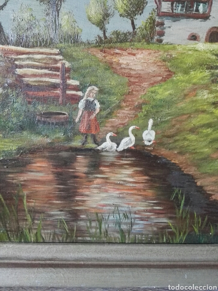 Arte: Cuadro pintura antigua oleo sobre lienzo firma ilegible alemania - Foto 7 - 103773556
