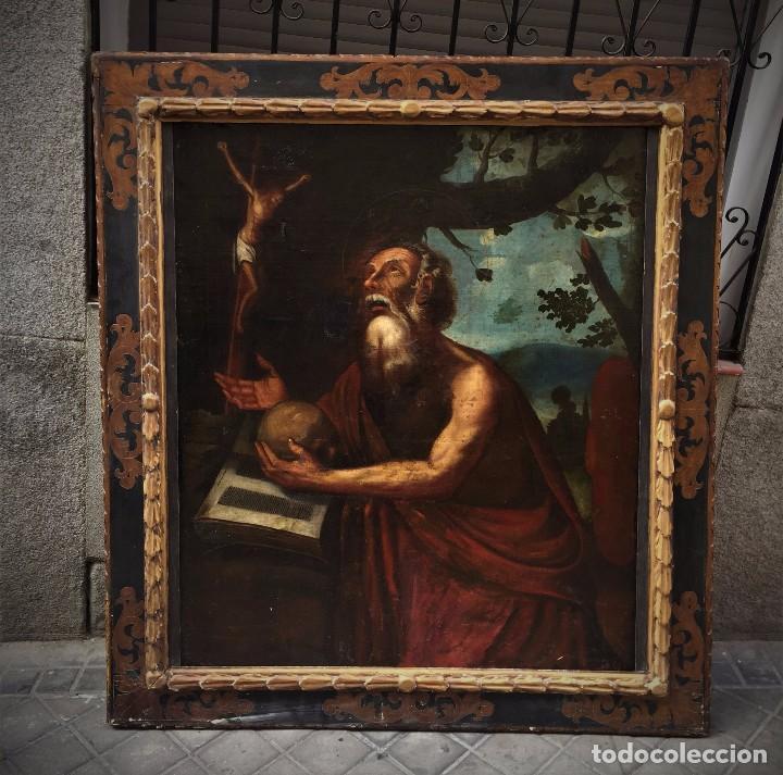 MAGNIFICO S JERONIMO ESCUELA ESPAÑOLA S. XVI-XVII (Arte - Pintura - Pintura al Óleo Antigua siglo XVI)