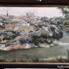 Arte: EL RÍO TAJO Y TOLEDO, VISTA GENERAL. ÓLEO SOBRE LIENZO. Lote 103854691