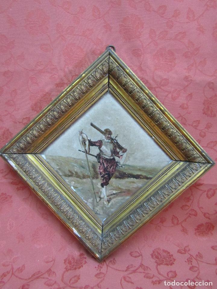 OLEO SOBRE AZULEJO SIGLO XIX (Arte - Pintura - Pintura al Óleo Moderna siglo XIX)
