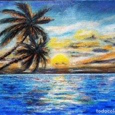 Arte: PALMERAS EN EL AGUA. Lote 103964795