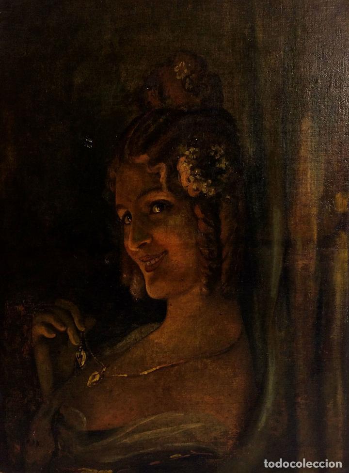 Arte: RETRATO DE JOVEN DAMA. ÓLEO SOBRE TELA. ESCUELA CATALANA. ESPAÑA. CIRCA 1850 - Foto 3 - 102930571