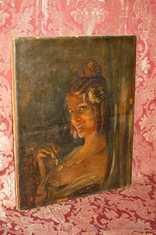 Arte: RETRATO DE JOVEN DAMA. ÓLEO SOBRE TELA. ESCUELA CATALANA. ESPAÑA. CIRCA 1850 - Foto 14 - 102930571