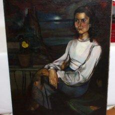 Arte: ANTONIO GAGO GONZALEZ (BEMBIBRE, LEÓN, 1900 - 1969) OLEO TELA. MUJER CON MAR DE FONDO. 130 X 95 CM.. Lote 104043699