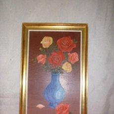 Arte: OLEO SOBRE TABLERO, JARRON FLORERO. Lote 104088095