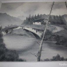 Arte: PAISAJE EN BLANCO Y GRIS FIMADO POR V.ROS 53X 35. Lote 104092415