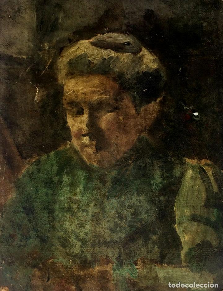 RETRATO DE ANCIANA. PINTURA. ÓLEO SOBRE LIENZO. ESCUELA CATALANA. ESPAÑA. SIGLO XIX (Arte - Pintura - Pintura al Óleo Moderna siglo XIX)