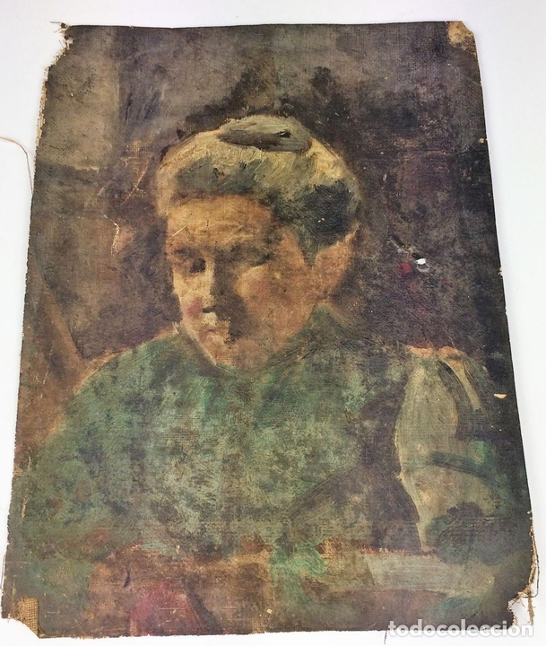 Arte: RETRATO DE ANCIANA. PINTURA. ÓLEO SOBRE LIENZO. ESCUELA CATALANA. ESPAÑA. SIGLO XIX - Foto 2 - 104185635