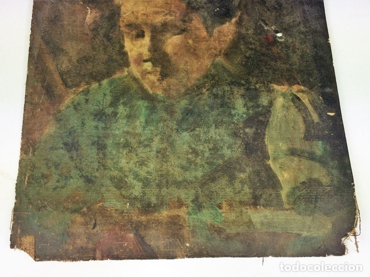 Arte: RETRATO DE ANCIANA. PINTURA. ÓLEO SOBRE LIENZO. ESCUELA CATALANA. ESPAÑA. SIGLO XIX - Foto 3 - 104185635