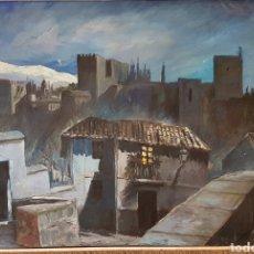 Arte: HIPÓLITO LLANES LA ALHAMBRA DESDE EL ALBAIZIM. Lote 104193312
