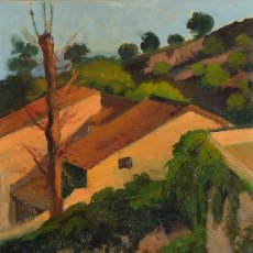Arte: ANTONI ROS Y GÜELL (1873-1954) ÓLEO SOBRE LIENZO PAISAJE MONTAÑA CON CASA FIRMADO. Lote 104219067