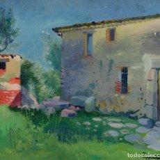 Arte: ANTONI ROS Y GÜELL (1873-1954) ÓLEO SOBRE LIENZO PAISAJE CASA DE CAMPO FIRMADO. Lote 104219071