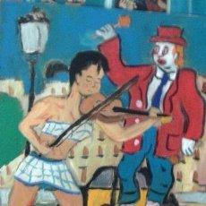 Arte: VIOLINISTA Y PAYASO EN LAS RAMBLAS DE BARCELONA, 40X50, ÓLEO MADERA, AUTOR CRESPO. Lote 218349140