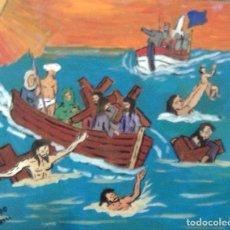 Arte: LOS EMIGRANTES,ÓLEO SOBRE TABLA, 50X60 CM., AUTOR CRESPO. Lote 104468435