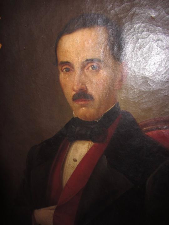 Arte: Lienzo Retrato Caballero - Escudo Heráldico Campaner Pollensa - Mallorca - Escuela Mallorquina - - Foto 7 - 104516775