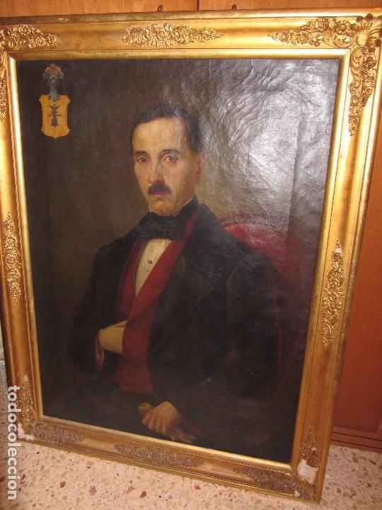 LIENZO RETRATO CABALLERO - ESCUDO HERÁLDICO CAMPANER POLLENSA - MALLORCA - ESCUELA MALLORQUINA - (Arte - Pintura - Pintura al Óleo Moderna siglo XIX)
