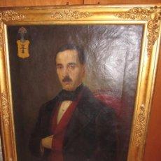 Arte: OLEO SOBRE LIENZO RETRATO DE CABALLERO DE ÉPOCA CON ESCUDO HERÁLDICO - CAMPANER - CAMPANET - XIX. Lote 104516775