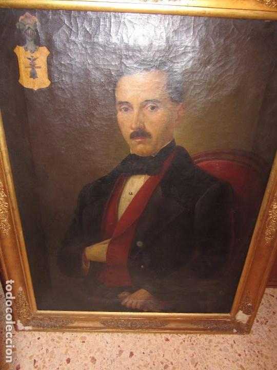 Arte: Lienzo Retrato Caballero - Escudo Heráldico Campaner Pollensa - Mallorca - Escuela Mallorquina - - Foto 3 - 104516775