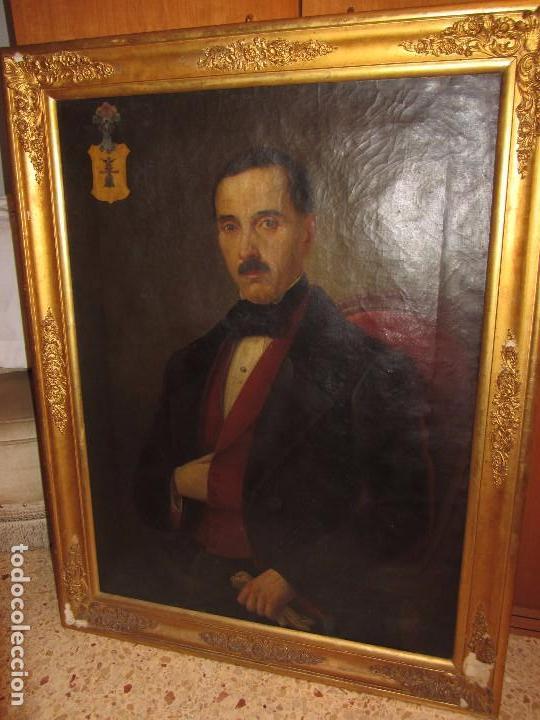 Arte: Lienzo Retrato Caballero - Escudo Heráldico Campaner Pollensa - Mallorca - Escuela Mallorquina - - Foto 4 - 104516775