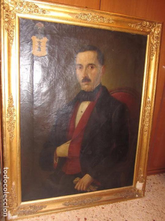 Arte: Lienzo Retrato Caballero - Escudo Heráldico Campaner Pollensa - Mallorca - Escuela Mallorquina - - Foto 5 - 104516775