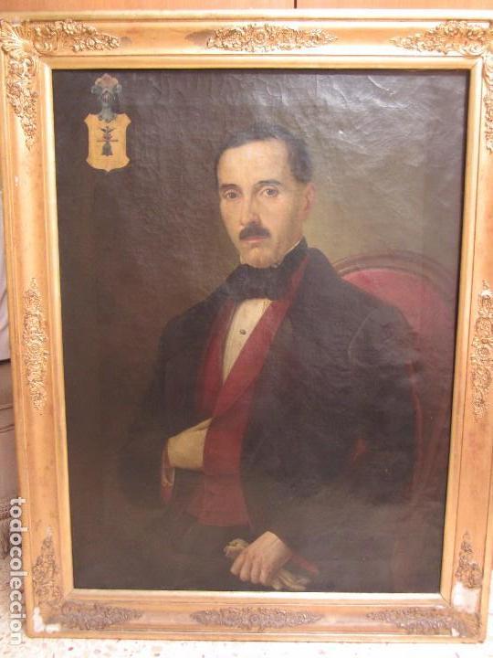 Arte: Lienzo Retrato Caballero - Escudo Heráldico Campaner Pollensa - Mallorca - Escuela Mallorquina - - Foto 6 - 104516775