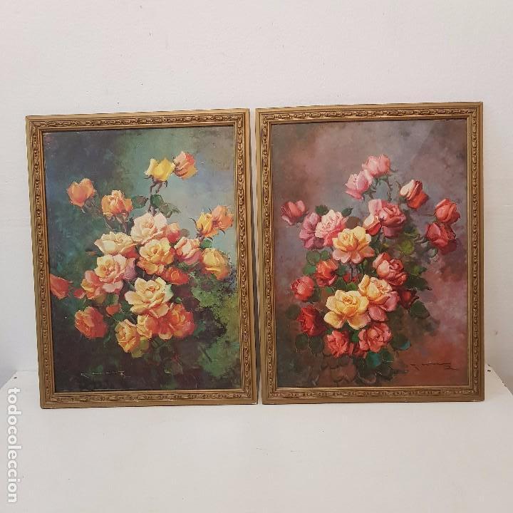 PAREJA CUADROS FLORES (Arte - Pintura - Pintura al Óleo Contemporánea )