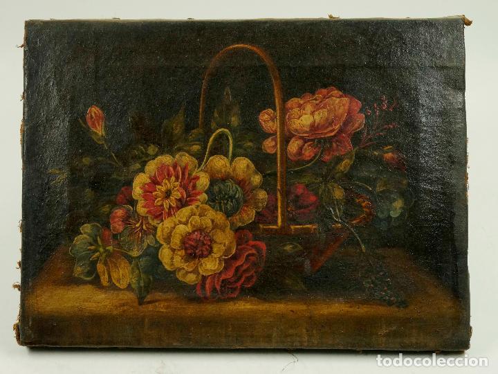 BODEGÓN DE FLORES, ÓLEO SOBRE LIENZO S.XVIII-XIX. 23X31 CM. (Arte - Pintura - Pintura al Óleo Antigua siglo XVIII)