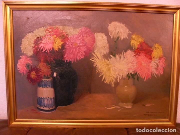 M.BENET, FLORES Y CERAMICA, 1917, CON DEDICATORIA (Arte - Pintura - Pintura al Óleo Contemporánea )
