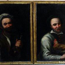 Arte: PAREJA RETRATOS COSTUMBRISTAS COPIA DE JOSE DE RIBERA ÓLEO SOBRE LIENZO SIGLO XVIII. Lote 104869007