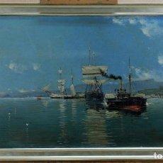 Arte: ESCENA PORTUARIA CANTÁBRICA ÓLEO SOBRE LIENZO FIRMADO Y FECHADO JUAN MARTÍNEZ ABADES 1893. Lote 104877259