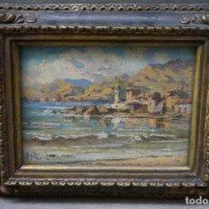 Kunst - ricart, paisaje costero, sin fecha, pintura al óelo. 16,5x11,5cm - 104942675