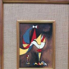 Arte: ÓLEO PERSONAJE SURREALISTA, FIRMADO LEÓN 1971, SURREALISMO, VANGUARDIA, POSTVANGUARDIA. Lote 104969651