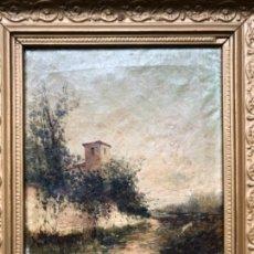 Arte: PINTURA CATALANA, ÓLEO SOBRE TELA, ESCUELA OLOT FIRMA J. BERGA ? 1889. Lote 39030781