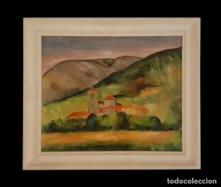 PUEBLO , PRECIOSO CUADRO DE EUGENIO RINCÓN, BILBAO-BURGOS. (Arte - Pintura - Pintura al Óleo Contemporánea )