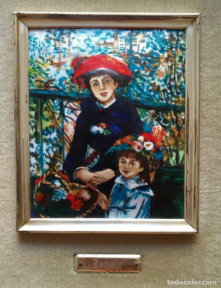 Arte: Renoir. Reproducción en esmalte del famoso cuadro, Dos hermanas en la terraza. - Foto 3 - 105114187