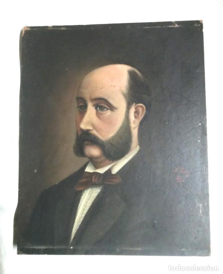 AUTORETRATO HOMBRE, ÓLEO SOBRE CARTÓN FIRMADO A. BOY AÑO 1875. MED. 16,50 X 21,50 CM (Arte - Pintura - Pintura al Óleo Antigua siglo XVIII)