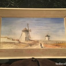Arte: ÓLEO SOBRE TABLA: MOLINOS DE VIENTO DE LA MANCHA. FIRMADO. Lote 105249703