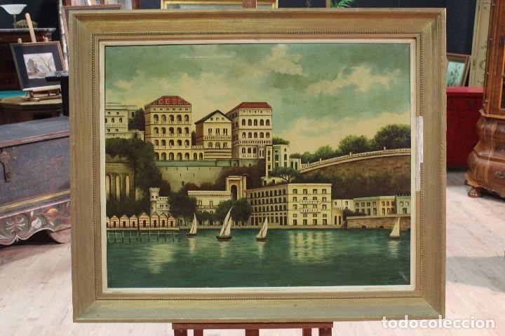 Arte: Pintura óleo sobre lienzo firmada paisaje con barcos - Foto 2 - 105271367