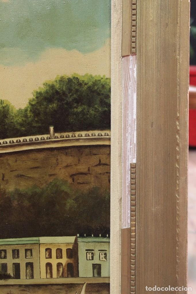 Arte: Pintura óleo sobre lienzo firmada paisaje con barcos - Foto 5 - 105271367