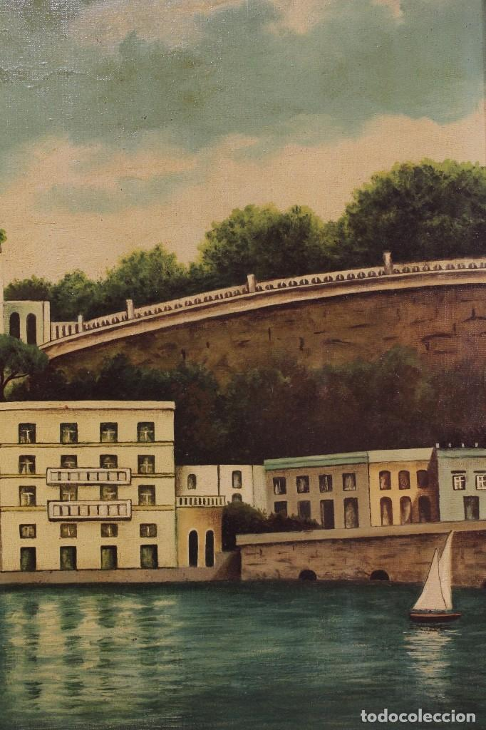 Arte: Pintura óleo sobre lienzo firmada paisaje con barcos - Foto 8 - 105271367