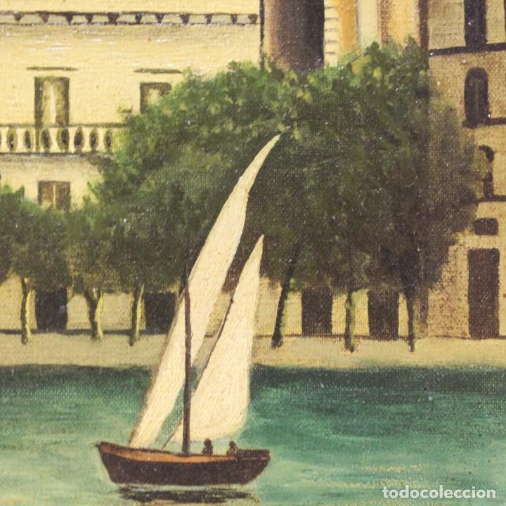 Arte: Pintura óleo sobre lienzo firmada paisaje con barcos - Foto 11 - 105271367