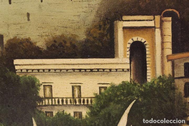 Arte: Pintura óleo sobre lienzo firmada paisaje con barcos - Foto 13 - 105271367