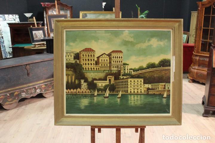 Arte: Pintura óleo sobre lienzo firmada paisaje con barcos - Foto 15 - 105271367