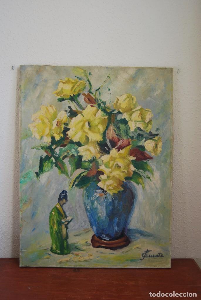 ÓLEO / LIENZO - FLORES Y FIGURA CHINA - GEISHA - JAPÓN - FIRMADO C.FUENTE - AÑOS 40-50 (Arte - Pintura - Pintura al Óleo Contemporánea )