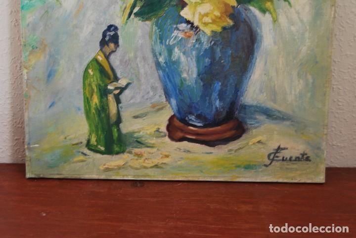 Arte: ÓLEO / LIENZO - FLORES Y FIGURA CHINA - GEISHA - JAPÓN - FIRMADO C.FUENTE - AÑOS 40-50 - Foto 7 - 105582435