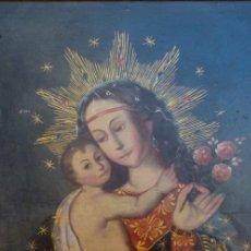 Arte: ÓLEO S/LIENZO PEGADO A TABLA -VIRGEN CON NIÑO-. DIM.- 93X68 CMS. ESC COLONIAL S. XVIII. Lote 105627727